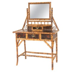 Aesthetic Movement Bamboo and Lacquer Vanity and Chair
