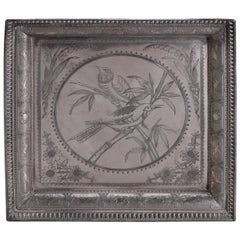 Aesthetic Movement Bird in Bamboo Silver Plate Hunt Tray, Animal Border