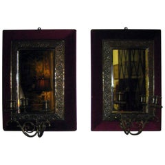Aesthetic Movement Brass Sconce Pair with Velvet Lined Frames