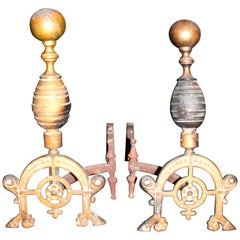Aesthetic Movement Bronze Andirons in Christopher Dresser Style