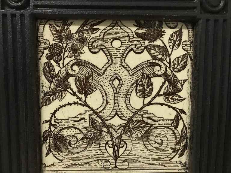 English Aesthetic Movement Cast Iron Fire Insert with Original Maw & Co Tiles For Sale 9