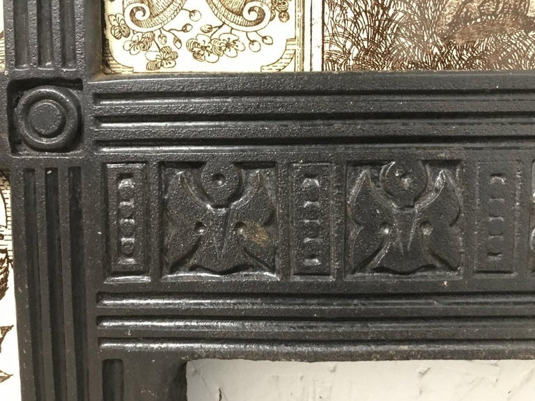 English Aesthetic Movement Cast Iron Fire Insert with Original Maw & Co Tiles For Sale 14