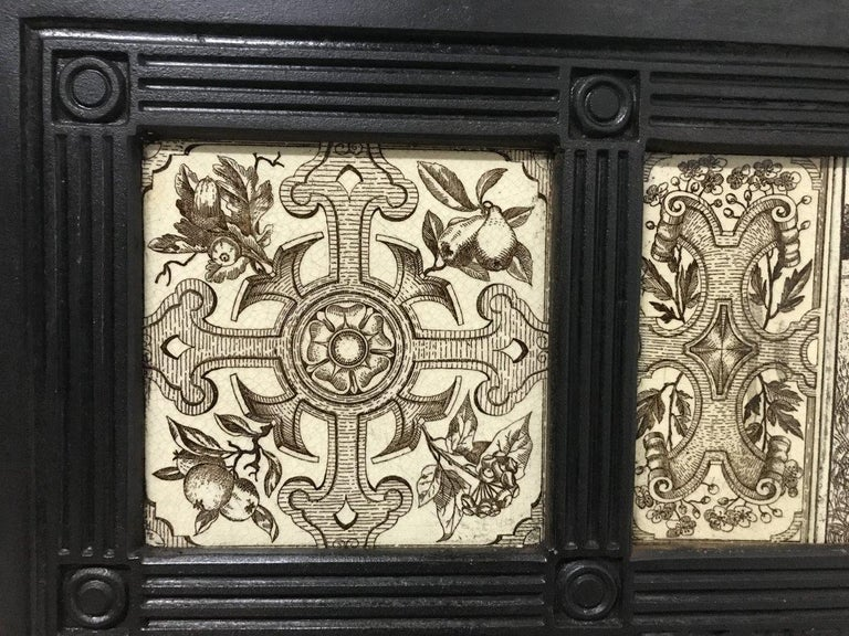 Late 19th Century English Aesthetic Movement Cast Iron Fire Insert with Original Maw & Co Tiles For Sale
