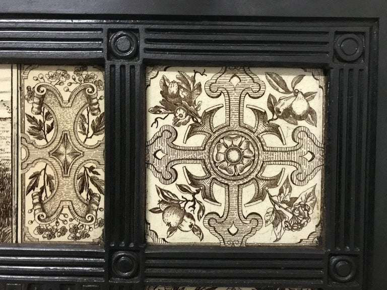 English Aesthetic Movement Cast Iron Fire Insert with Original Maw & Co Tiles For Sale 3