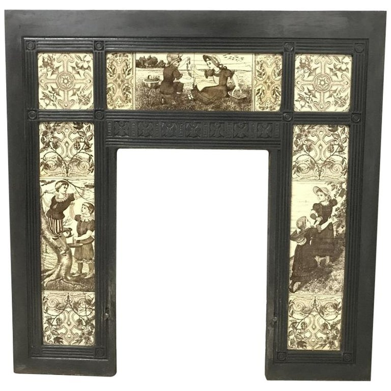 English Aesthetic Movement Cast Iron Fire Insert with Original Maw & Co Tiles For Sale
