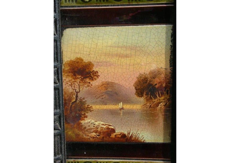 Aesthetic Movement Cast Iron Tiled Fire Insert with Hand Painted Sailing Scenes In Good Condition For Sale In London, GB