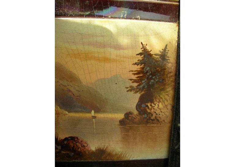 Aesthetic Movement Cast Iron Tiled Fire Insert with Hand Painted Sailing Scenes For Sale 1