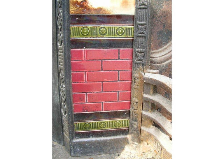 Aesthetic Movement Cast Iron Tiled Fire Insert with Hand Painted Sailing Scenes For Sale 3