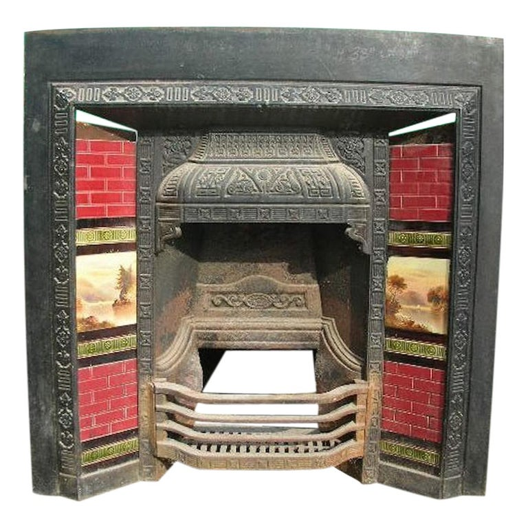 Aesthetic Movement Cast Iron Tiled Fire Insert with Hand Painted Sailing Scenes For Sale