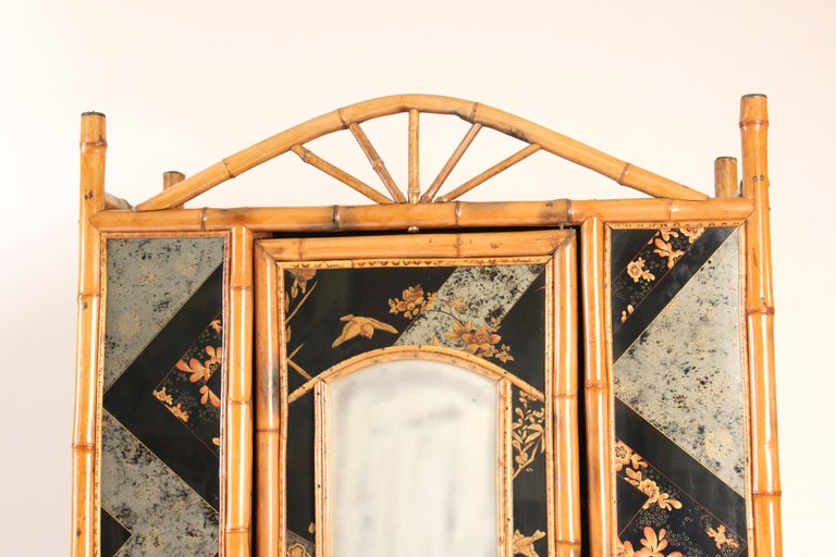 French Aesthetic Movement Chinoiserie Decorated Bamboo Armoire