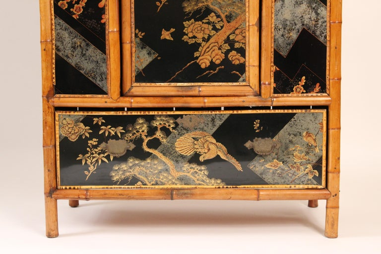 Aesthetic Movement Chinoiserie Decorated Bamboo Armoire In Good Condition In Laguna Beach, CA