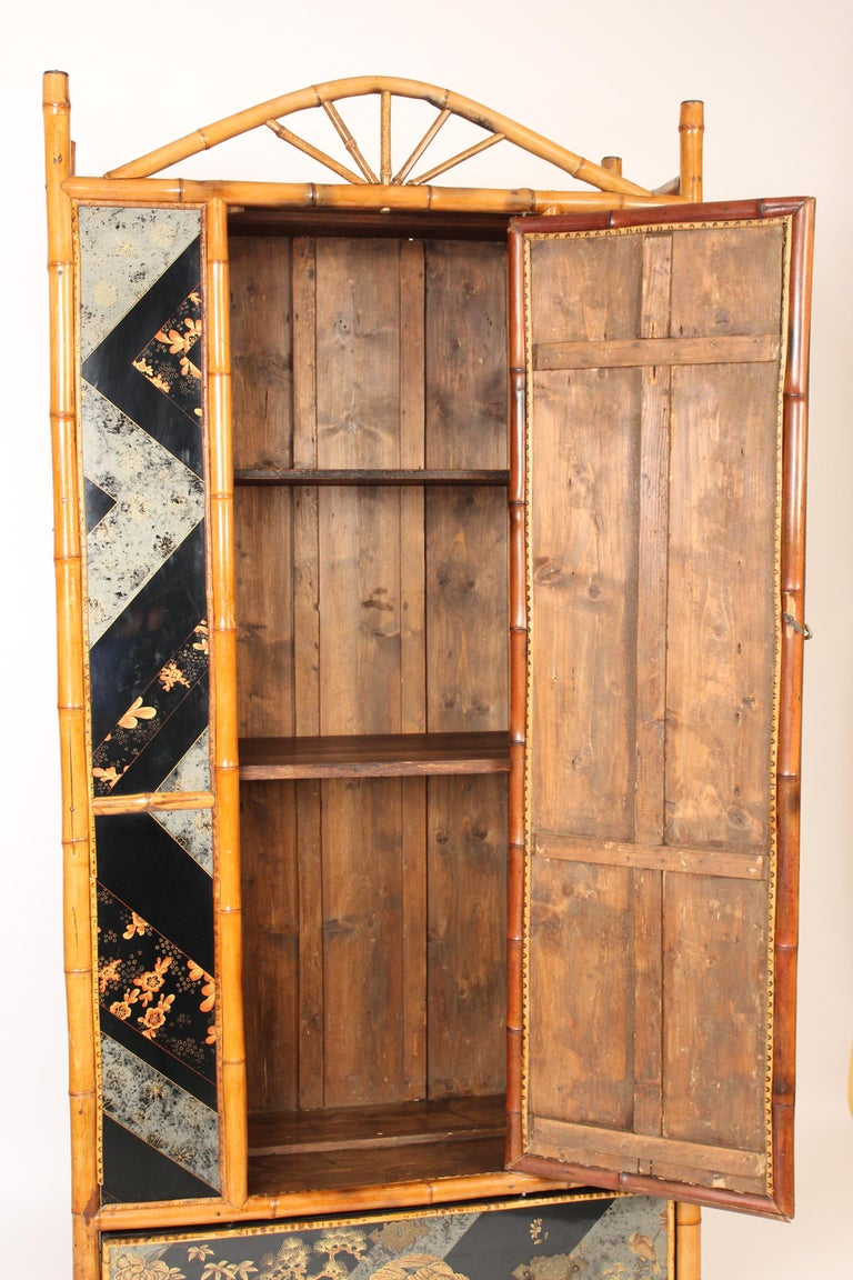Mid-20th Century Aesthetic Movement Chinoiserie Decorated Bamboo Armoire
