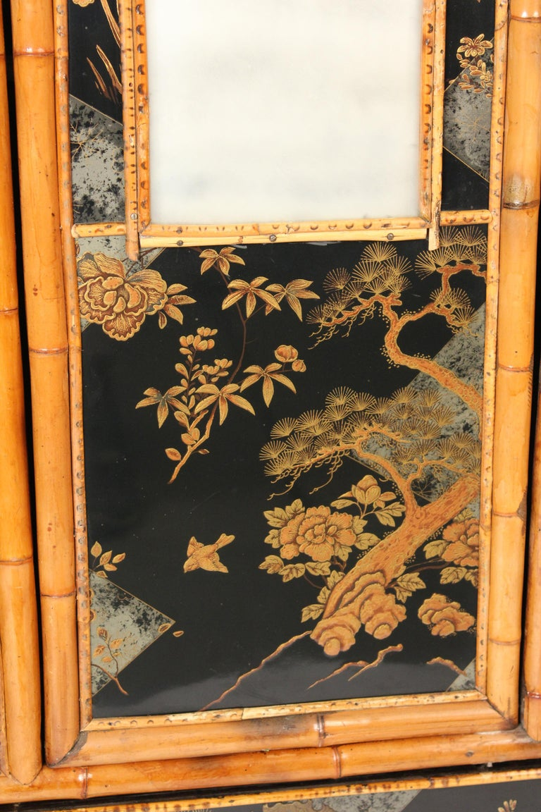 Aesthetic Movement Chinoiserie Decorated Bamboo Armoire 1