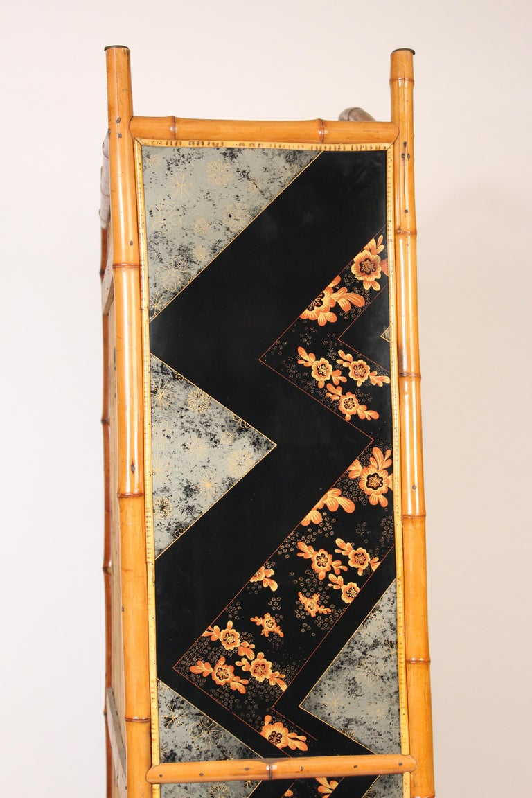 Aesthetic Movement Chinoiserie Decorated Bamboo Armoire 4