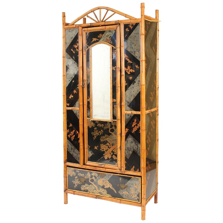 Aesthetic Movement Chinoiserie Decorated Bamboo Armoire