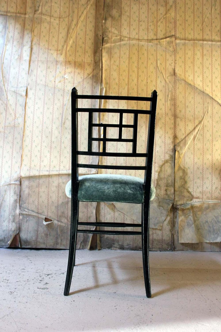 Aesthetic Movement Ebonized Side Chair in the Manner of E.W. Godwin For Sale 5
