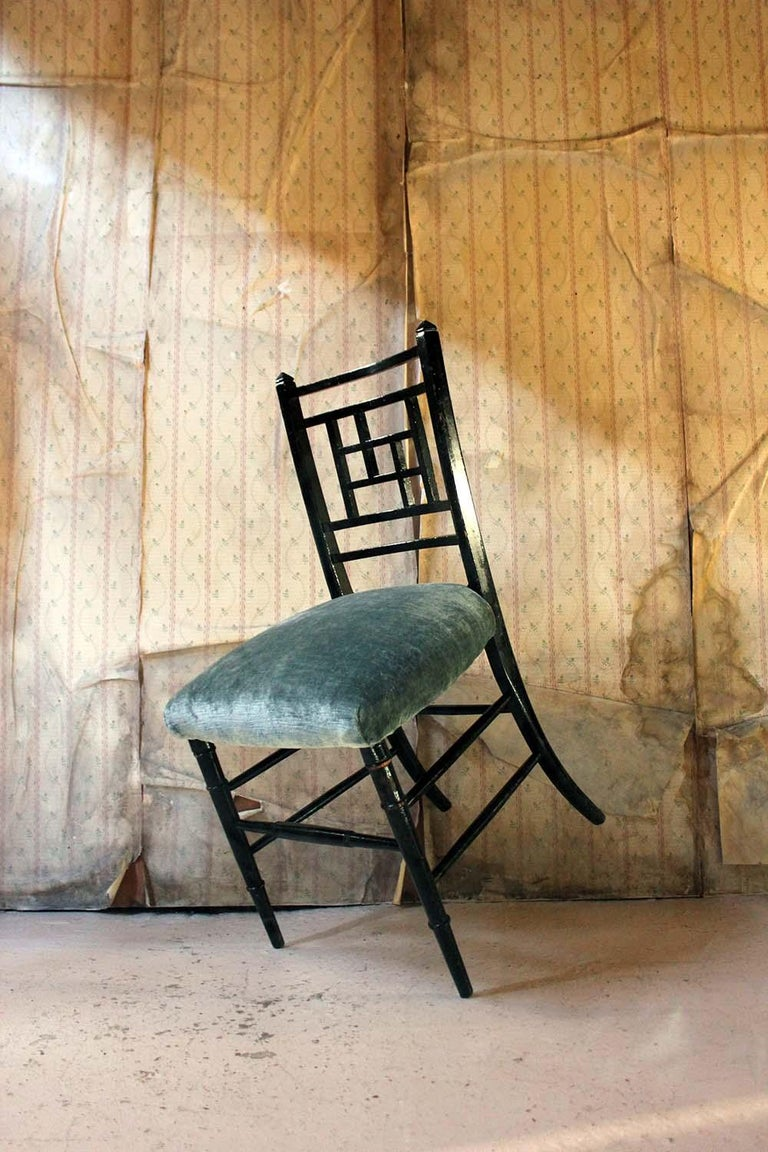 Aesthetic Movement Ebonized Side Chair in the Manner of E.W. Godwin For Sale 12