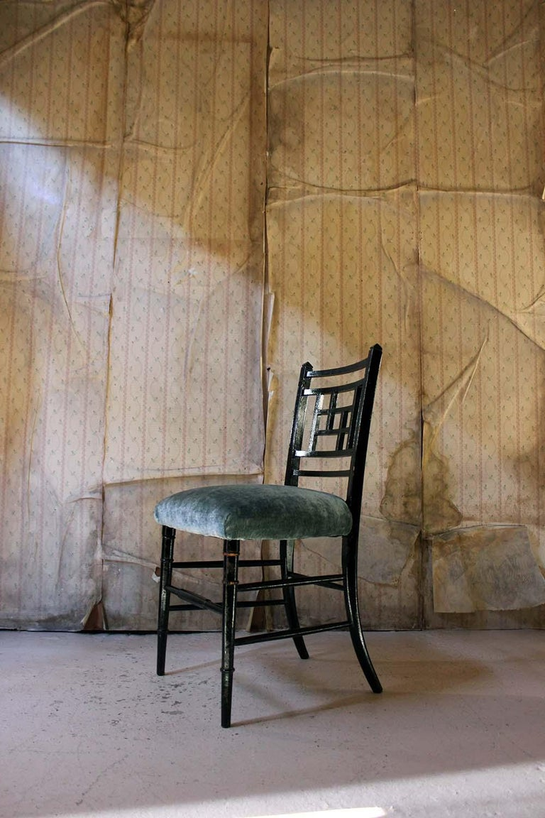 Aesthetic Movement Ebonized Side Chair in the Manner of E.W. Godwin For Sale 13
