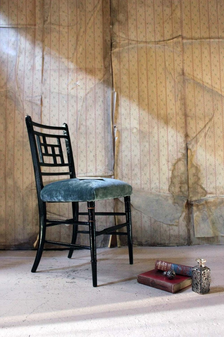 Aesthetic Movement Ebonized Side Chair in the Manner of E.W. Godwin For Sale 14