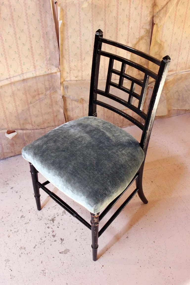 Beech Aesthetic Movement Ebonized Side Chair in the Manner of E.W. Godwin For Sale