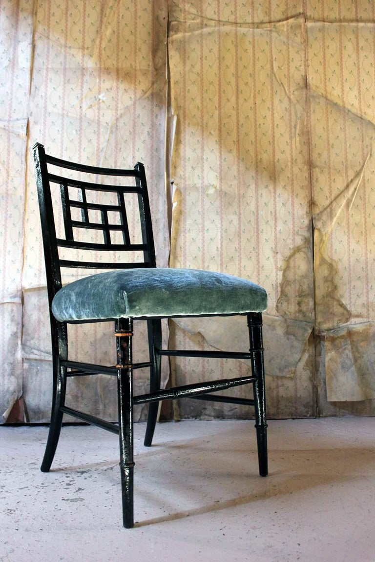 Aesthetic Movement Ebonized Side Chair in the Manner of E.W. Godwin For Sale 2