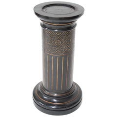 Aesthetic Movement Ebonized Pedestal Torchière with Incised & Gilded Decoration