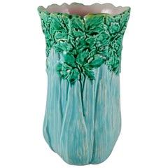 Aesthetic Movement English Majolica Tall Celery Vase, circa 1860
