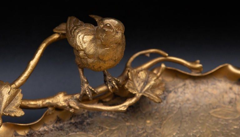 Metal Aesthetic Movement Gilt Vide-Poche with Bird For Sale