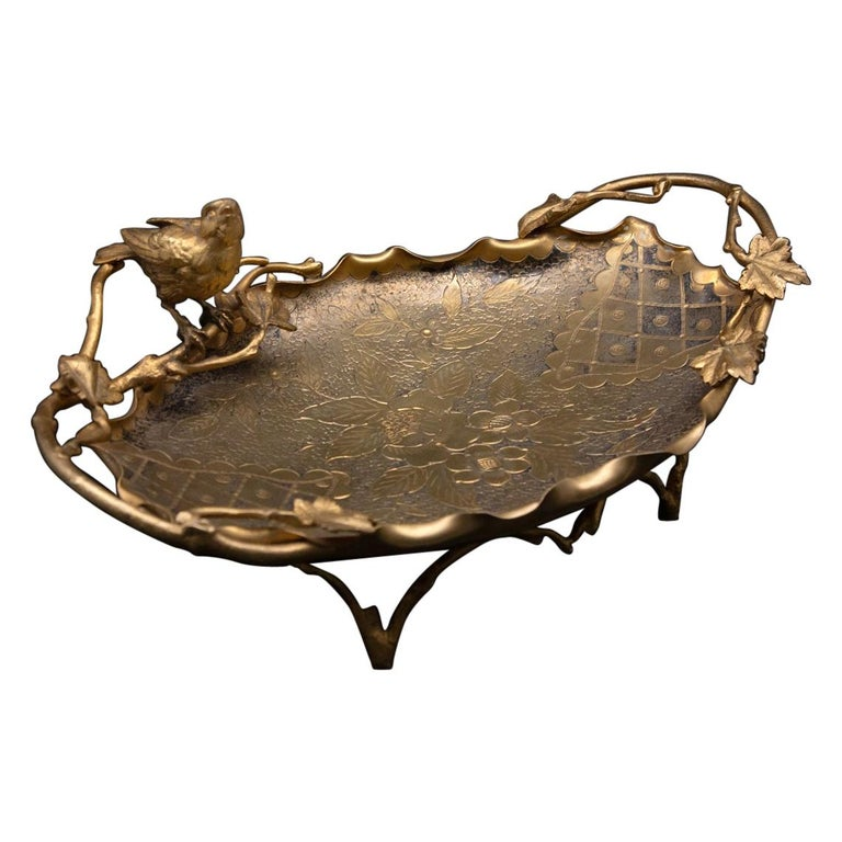Aesthetic Movement Gilt Vide-Poche with Bird For Sale