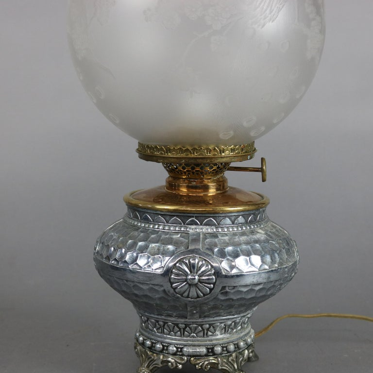19th Century Aesthetic Movement Hammered Silverplate Banquet Lamp with Etched Glass Shade For Sale