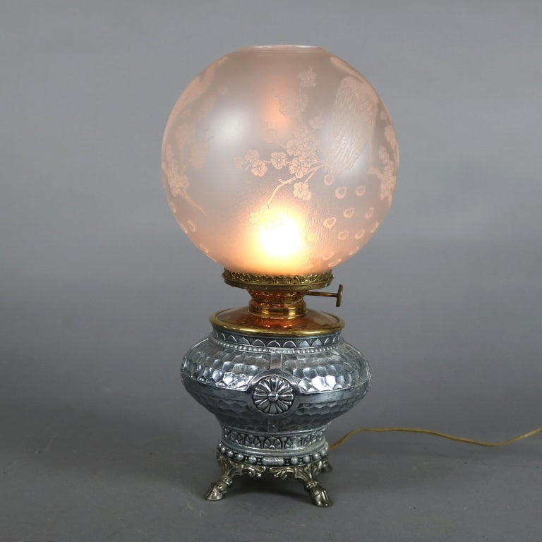 Silver Plate Aesthetic Movement Hammered Silverplate Banquet Lamp with Etched Glass Shade For Sale