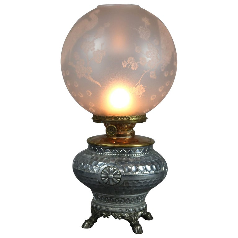 Aesthetic Movement Hammered Silverplate Banquet Lamp with Etched Glass Shade For Sale