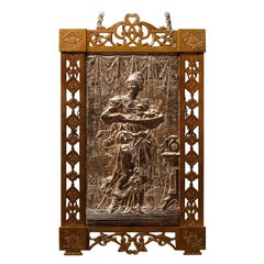 Aesthetic Movement High Relief Brass and Gilt Silver Wall Plaque, circa 1870
