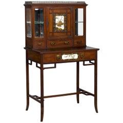 Aesthetic Movement Mahogany Bonheur du Jour Secretary Desk Cabinet, circa 1880