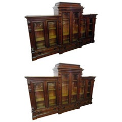 Aesthetic Movement Monumental Signed Herter Brothers Bookcase Pair