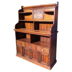 Aesthetic Movement Oak Bookcase Sideboard with a Pre Raphaelite Oil Painting