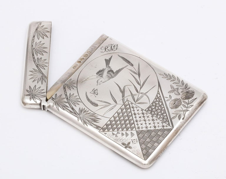 Aesthetic Movement Sterling Silver Calling/Business Card Case by George Unite For Sale 7