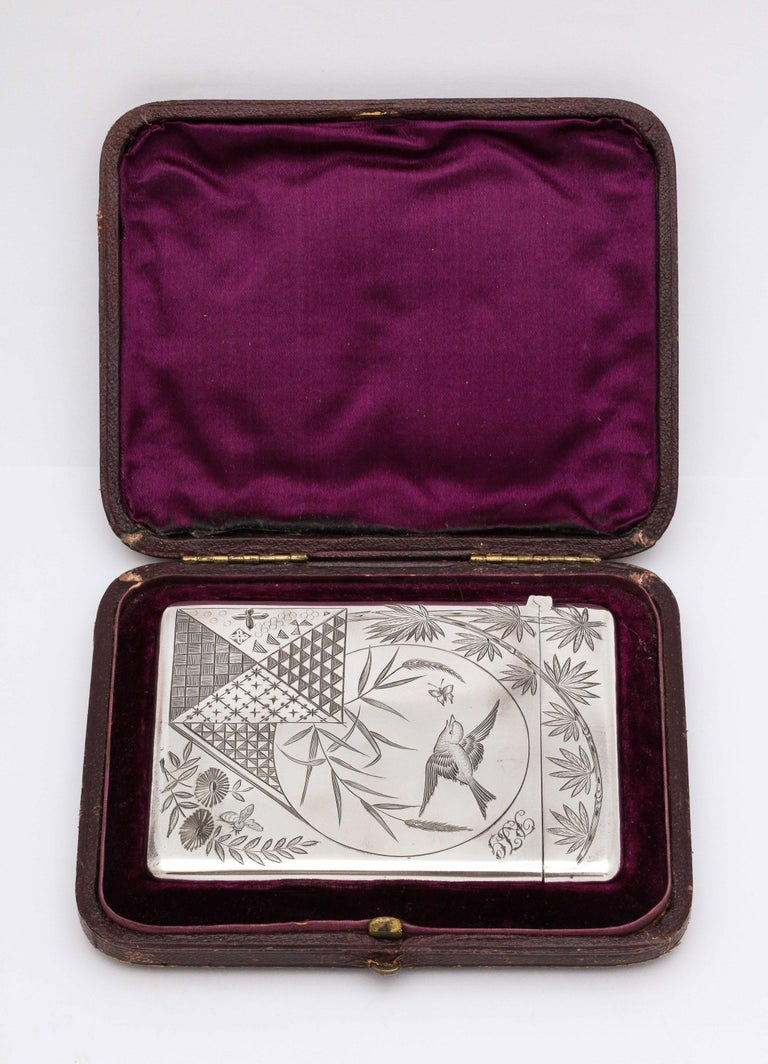 English Aesthetic Movement Sterling Silver Calling/Business Card Case by George Unite For Sale