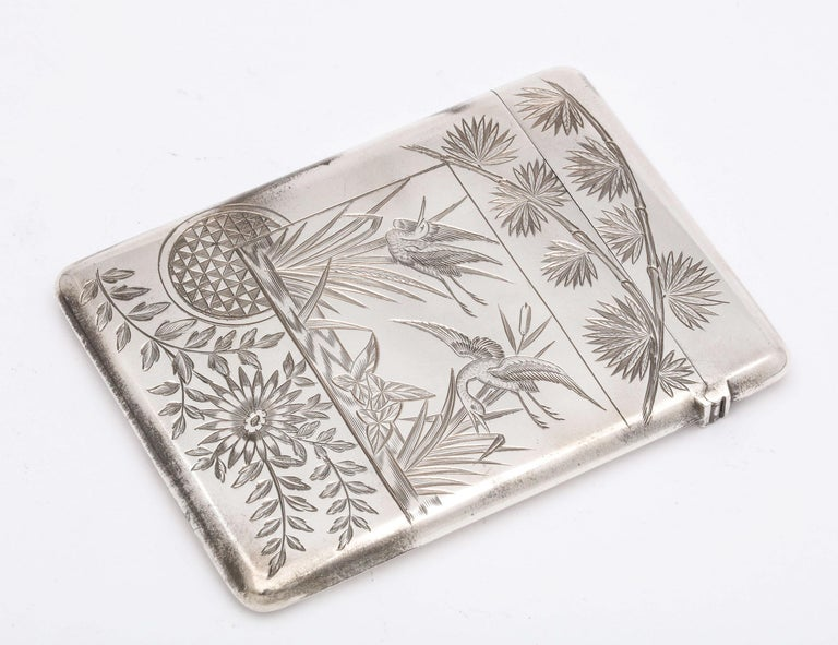Aesthetic Movement Sterling Silver Calling/Business Card Case by George Unite In Good Condition For Sale In New York, NY