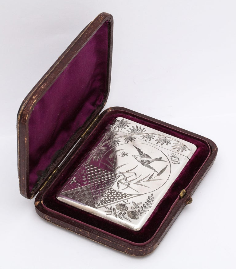Mid-19th Century Aesthetic Movement Sterling Silver Calling/Business Card Case by George Unite For Sale
