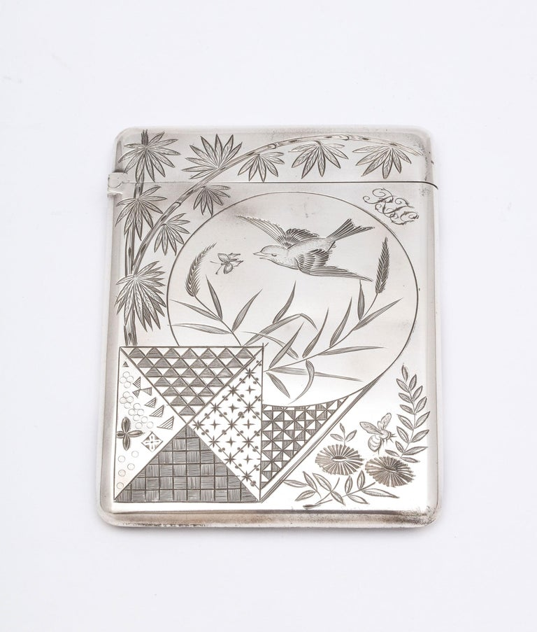 Aesthetic Movement Sterling Silver Calling/Business Card Case by George Unite For Sale 1