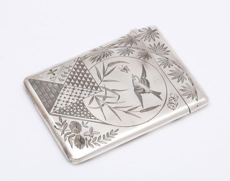Aesthetic Movement Sterling Silver Calling/Business Card Case by George Unite For Sale 2