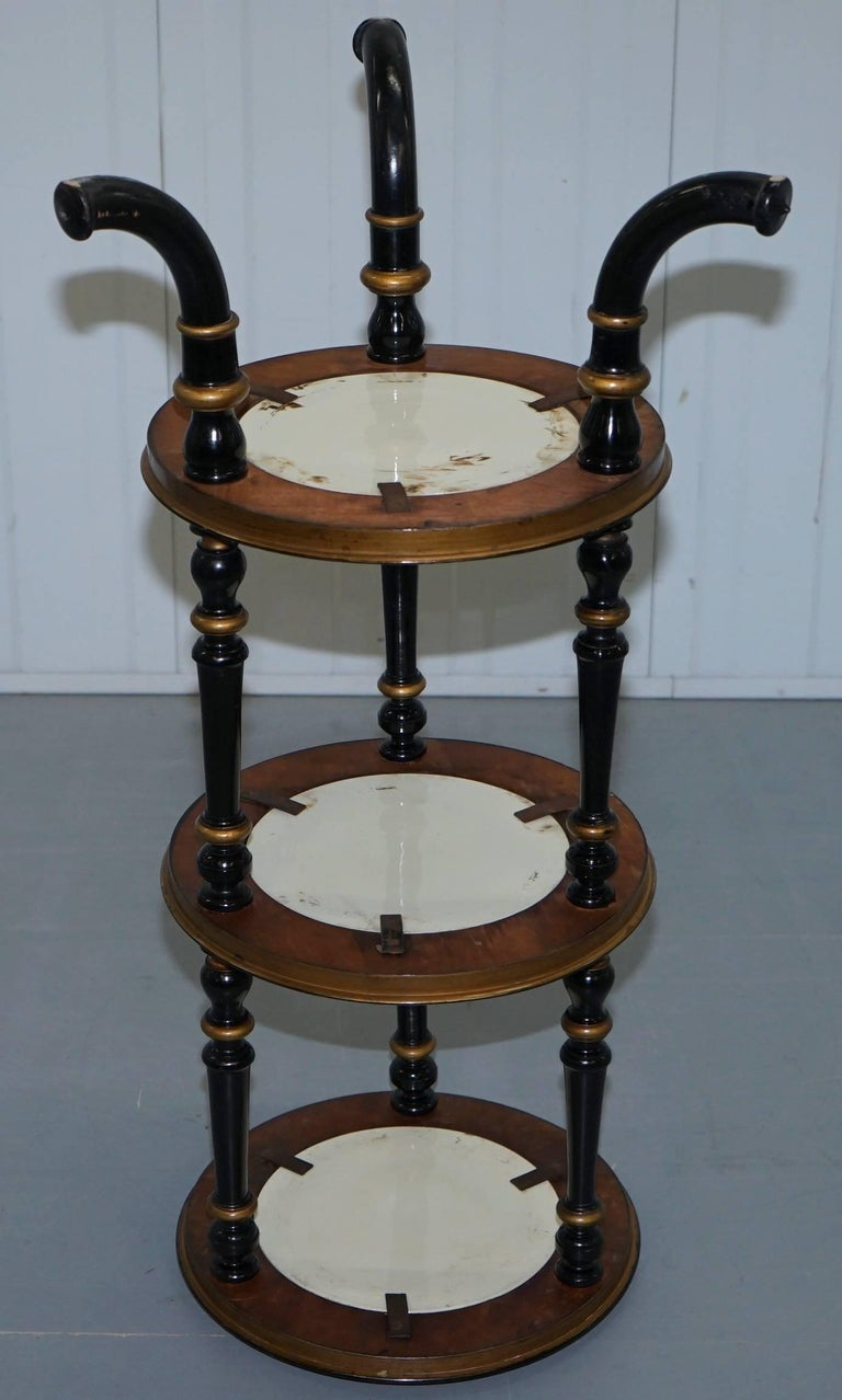 Aesthetic Movement Three-Tired Display Stand Hand-Painted Plates For Sale 4