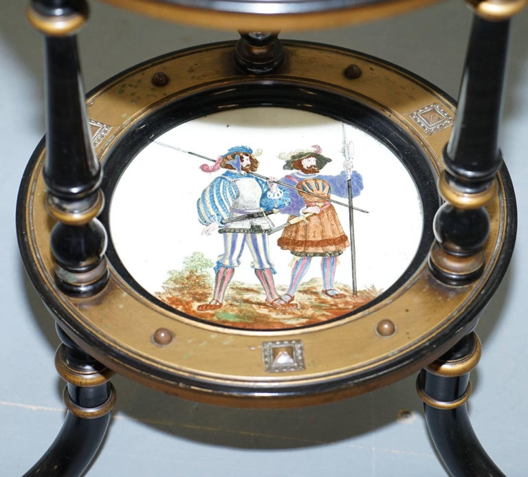 19th Century Aesthetic Movement Three-Tired Display Stand Hand-Painted Plates For Sale
