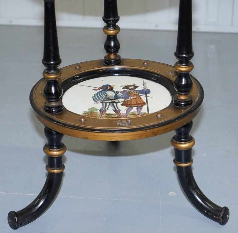 Aesthetic Movement Three-Tired Display Stand Hand-Painted Plates For Sale 2