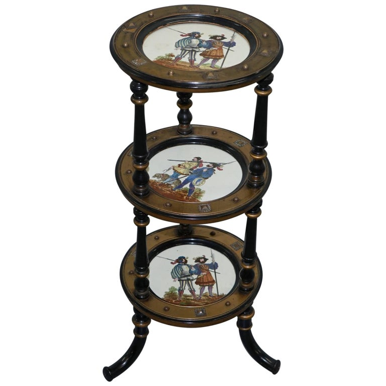 Aesthetic Movement Three-Tired Display Stand Hand-Painted Plates For Sale