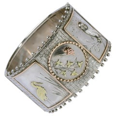 Aesthetic Period Silver and Gold Panel Cuff Bracelet Late Victorian