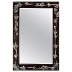 Aesthetic Style Faux Bamboo Silverplated Mirror by Maitland Smith