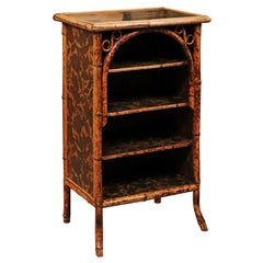 Aesthetic Style Inlaid Bamboo Shelf with Black Lacquered Top, England circa 1890