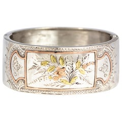 Aesthetic Victorian Two-Tone Gold Overlay Ornate Silver Bangle